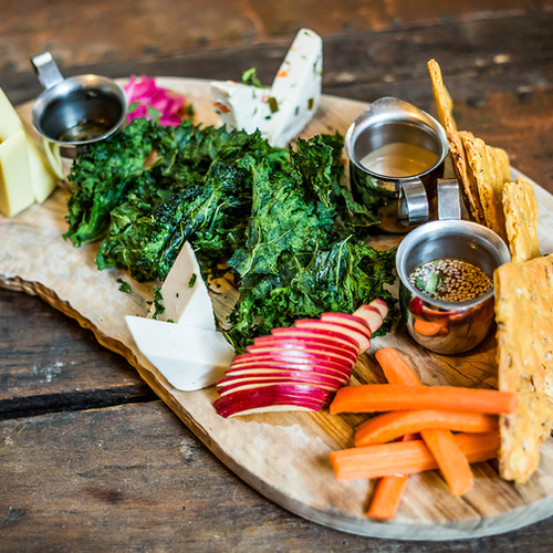 Cheeseboard with Pickled Vegetables, Kale Chips and Focaccia Crisps