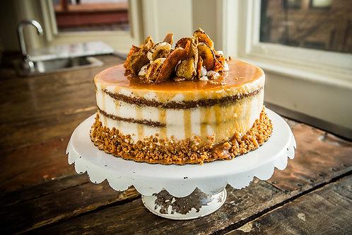 Organic Banana Fosters Cake with Vanilla Cream