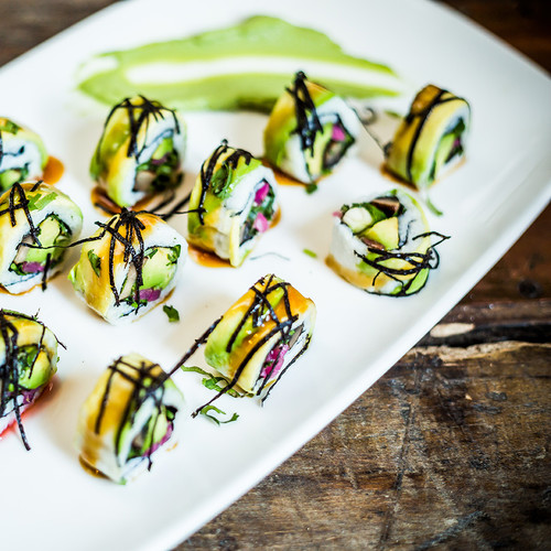 Portabella Avocado Sushi with Pickled Cucumber and Sunflower Wasabi Cream