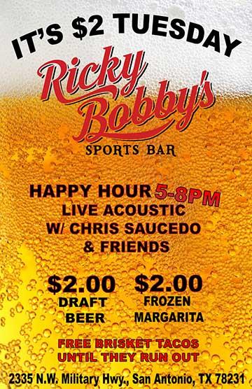 Ricky Boobbys $2 Tuesdayweb