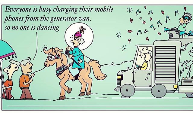 The obsessive charging disorder for mobile phones continues!! #charging #mobile #phones #power #marriage #barat #toonstory #cartoon