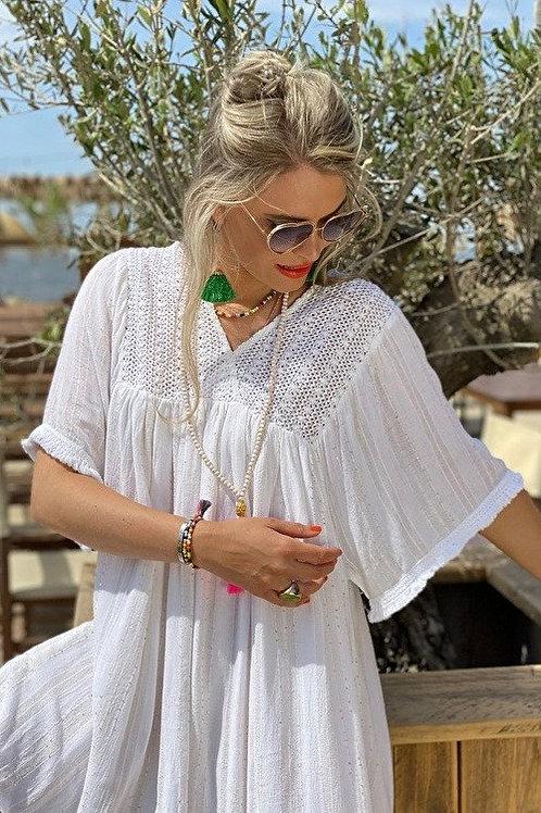 Place du Soleil | Kaftan Kleid weiß gold