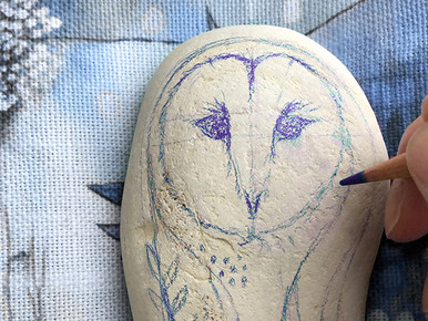 Painted Barn Owl Sea Stone