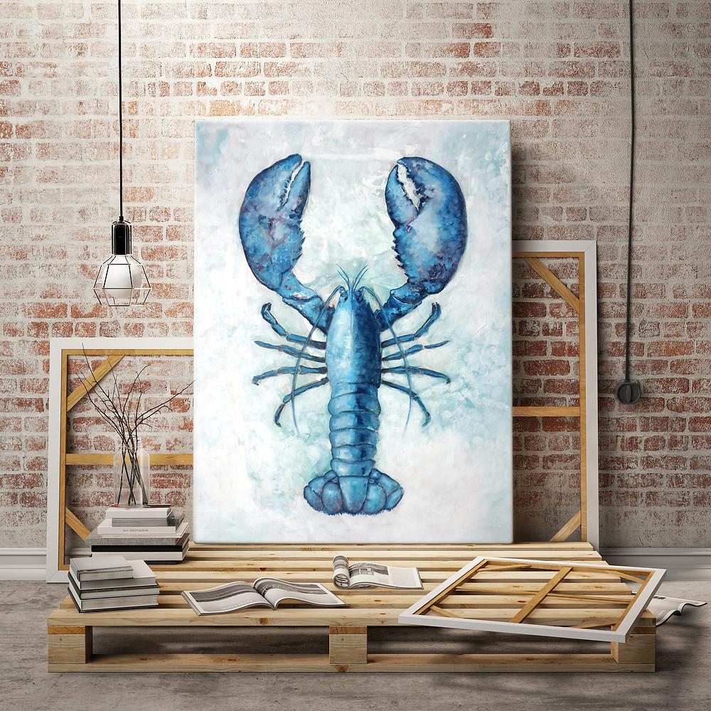 Blue lobster coastal paintings
