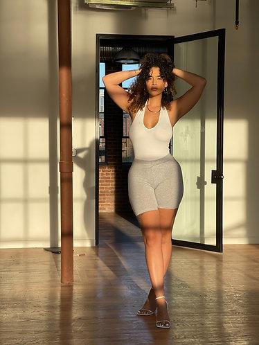 Summer Uptown | Grey Shorts + Halter Bodysuit Set