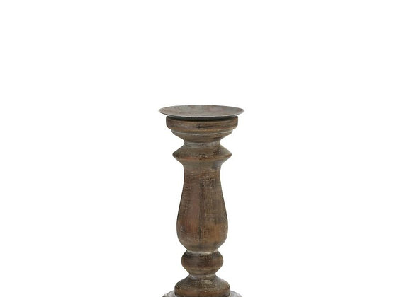 Short Antique-Style Wooden Candle Holder