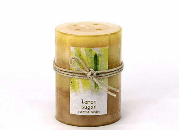 Lemon Sugar Pillar Candle 3X4