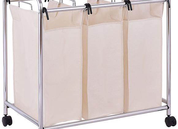 3-Bag Laundry Cart Bathroom Hamper