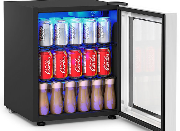 60 Can Beverage Mini Refrigerator w/ Glass Door