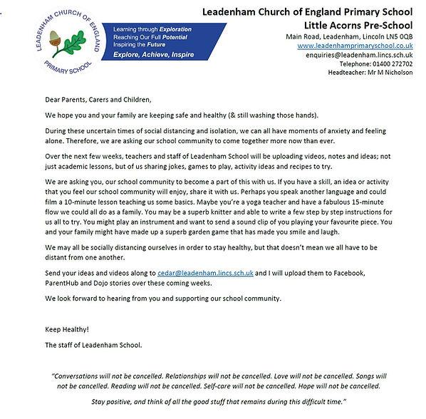 Leadenham School Community Letter.JPG
