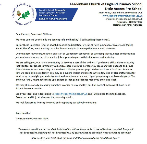 Leadenham School Community Letter.JPG