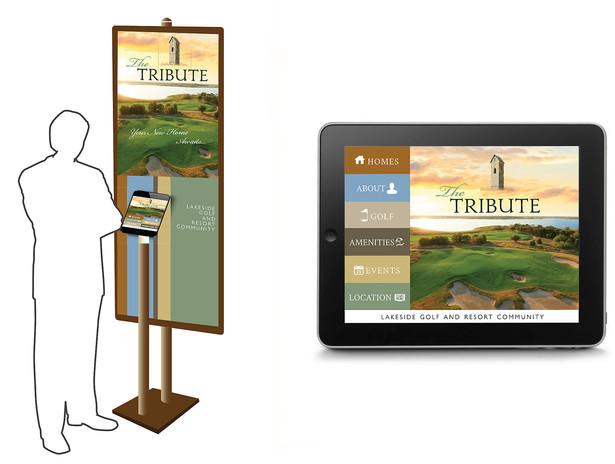Interactive kiosk for self-serve information regarding The Tribute.
