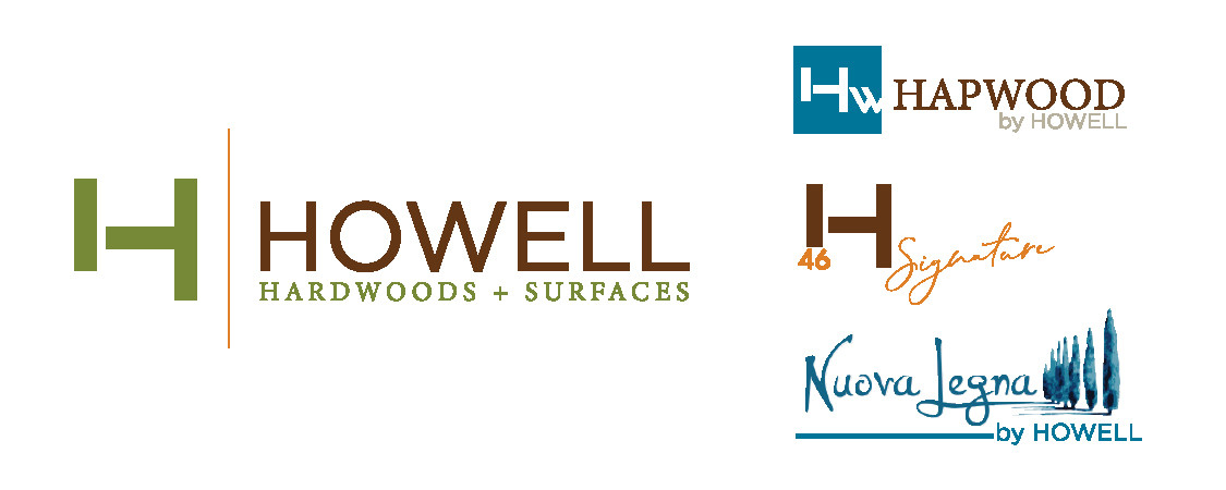 "The new designed Howell logo represents the expansion of the product lines, from just ""Hardwood Flooring"" to now ""Hardwoods & Surfaces"". The Howell product line logos were designed off the same color scheme, fonts and simplicity as the new Howell logo."