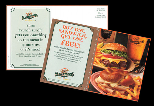 Direct Mail Postcard, one in a series of five, in which 25,000 within a 5 mile radius of each store.