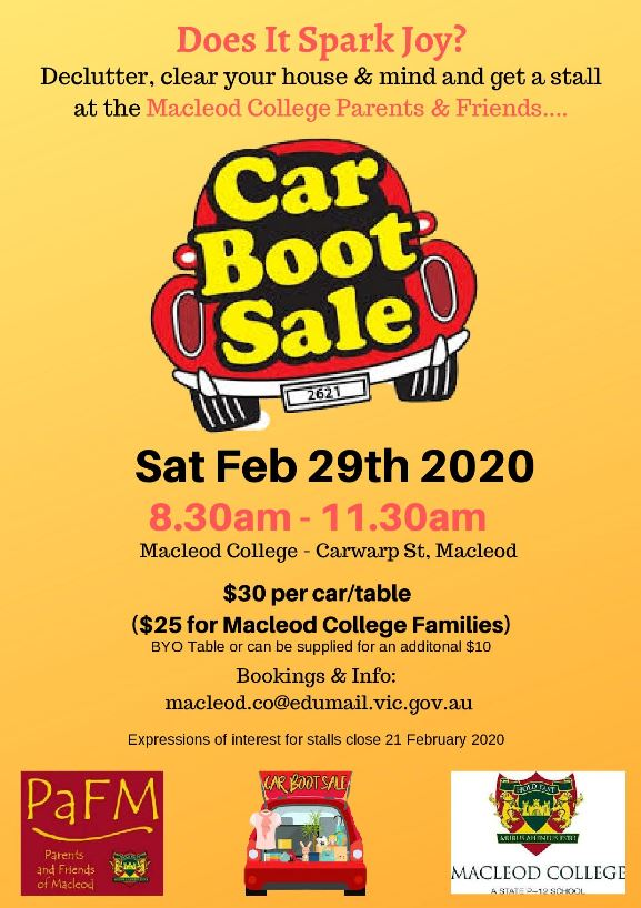 Macleod College Car Boot Sale Flyer-page