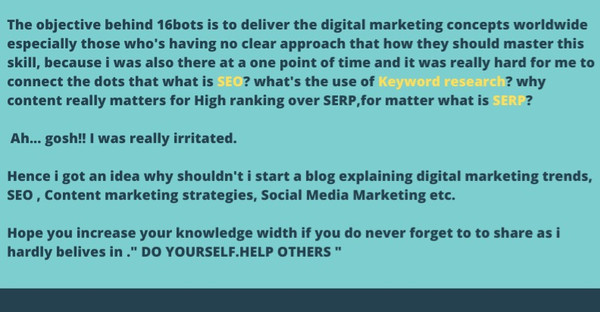 about us page of 16bots, a digital marketing blog