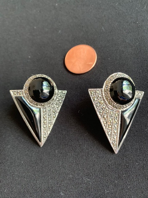 Art Deco style sterling onyx and marcasite pierced earrings
