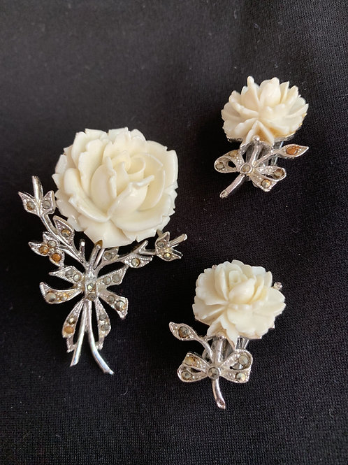 Vintage Coro carved flower pin and matching clip earrings