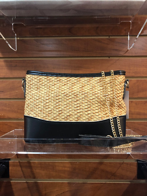 Straw Handbag with black trim
