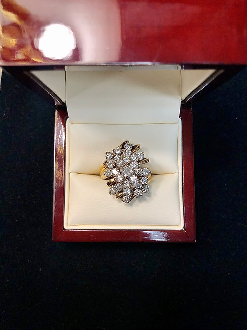 14k Yellow Gold Diamond Cluster Size 7