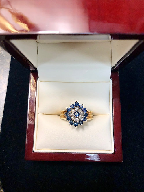 14k Sapphire and Diamond Ring Size 8