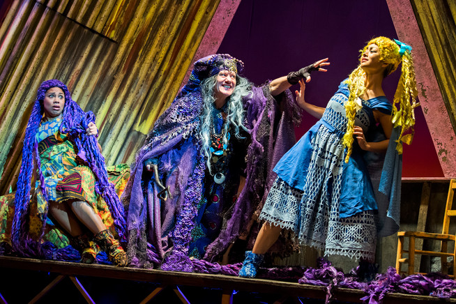 Joanne Sandi as Rapunzel, Michael Bertenshaw as Witch Maddy and Julie Yammanee as Goldilocks..