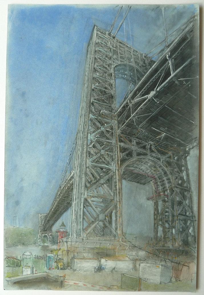 William Fricker Pastel. New York Bridge.