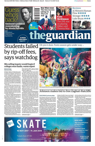 We made the front page of the Guardian. Fri 8th Dec 2017