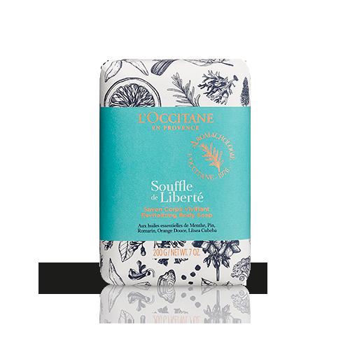 Souffle de Liberté - Duftseife mit vitalisierendem Duft: Sanfte Reinigung für Körper und Hände · Seife ohne Palmöl · Natürlicher Duft mit ätherischen Ölen von Minze, Rosmarin und Süßorange. L´OCCITANE, ca. 12,- €