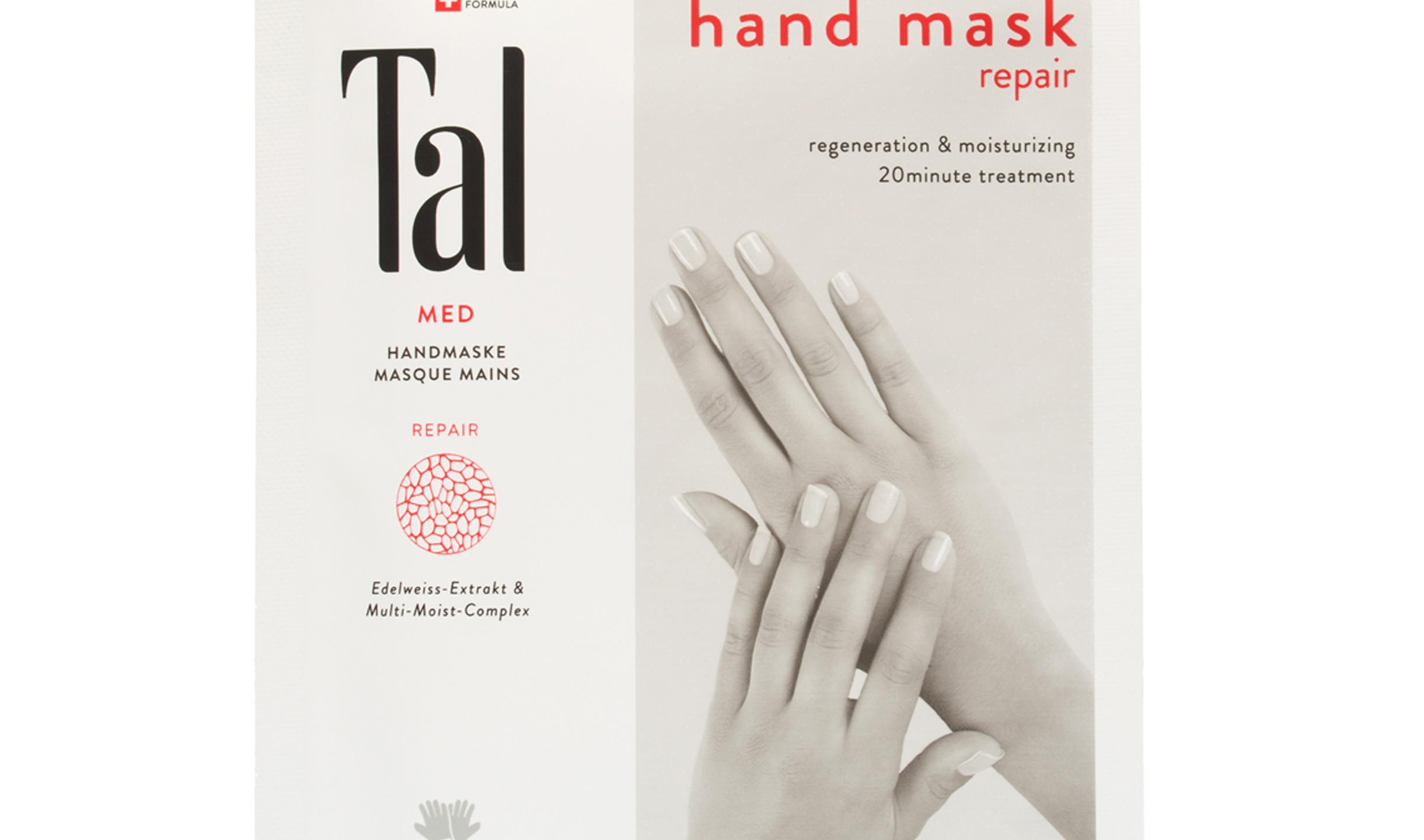 Handmaske Repair - Noch nie war eine intensive Pflege der beanspruchten Haut an den Händen so einfach: der mit einem Power-Pflanzencocktail getränkte Handschuh wird einfach übergestreift. Circa 15-20 Minuten einziehen lassen. 2 Handschuhe, ca. 4,90 € / 6er Box ca. 24,50 €