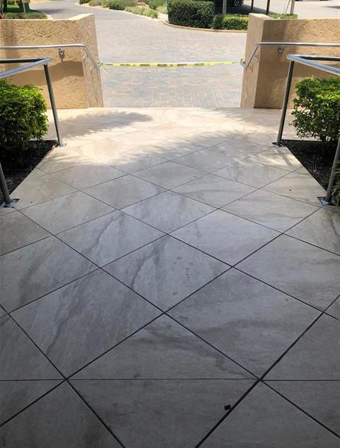 Tile walkway is no longer slippery when