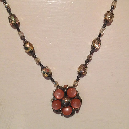 Gold & Orange Flower Necklace