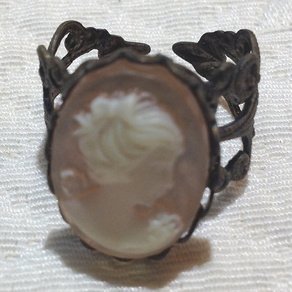 Coral Rose Cameo Ring