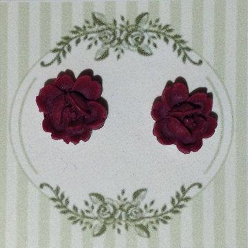 Maroon Flower Earring