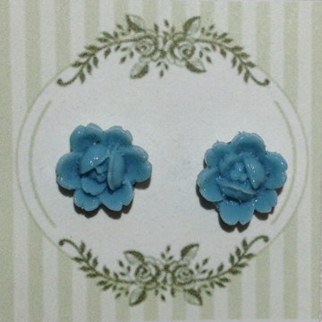 Aqua Flower Earring