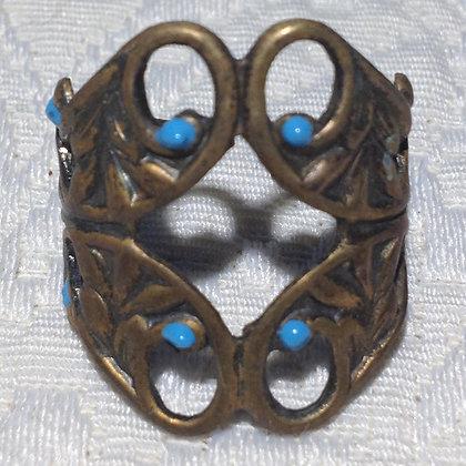Aqua Large Cigar Band Ring
