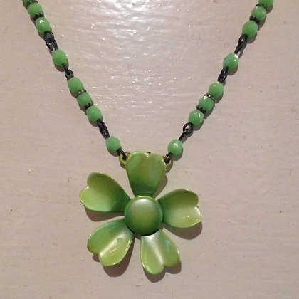 Lime Green Flower Necklace