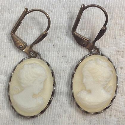 Cream Cameo Earring