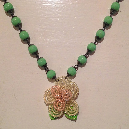 Rose & Lime Bead Flower Necklace