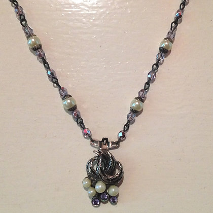Lilac & Cream Pearl Necklace