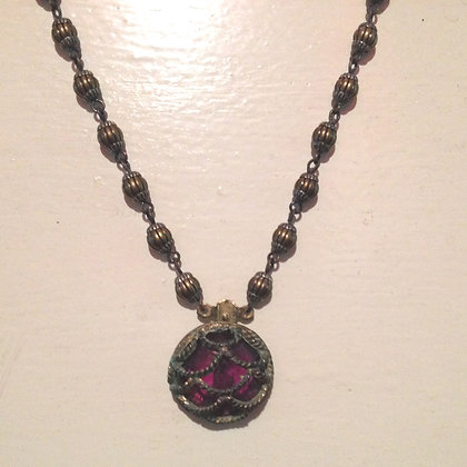 Fuschia Silver & Brass Necklace