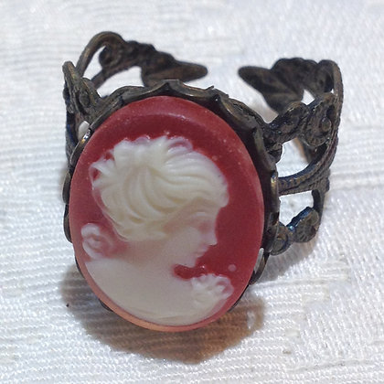 Ruby Red Cameo Ring