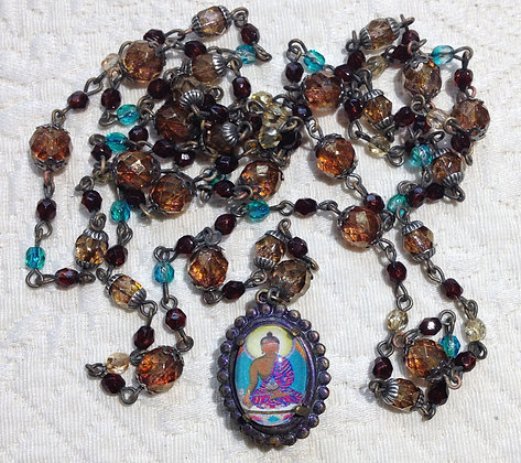 Mala Necklace Brown Buddha