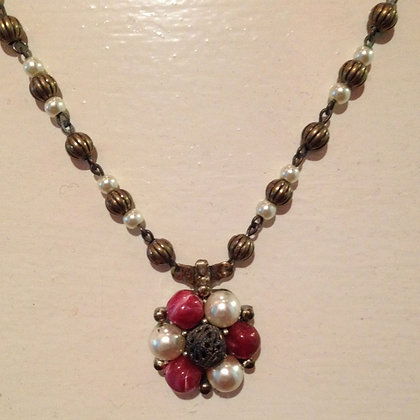 Brass, Red and Pearl Necklace
