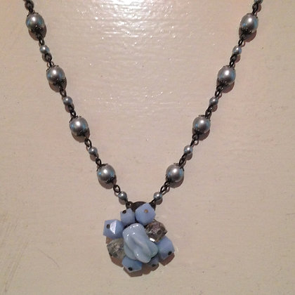 Lt. Blue & Silver Pearl Necklace