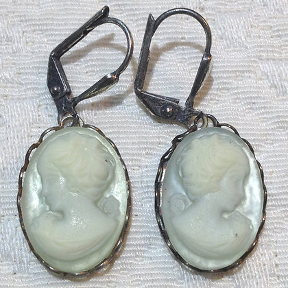 Powder Blue Cameo Earring
