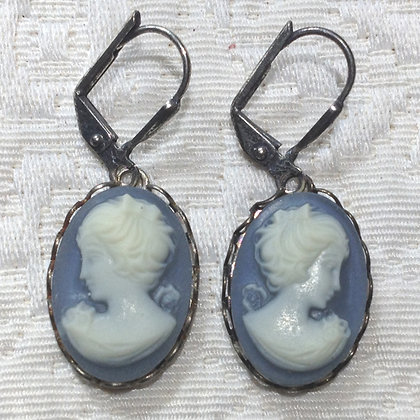 Denim Cameo Earring