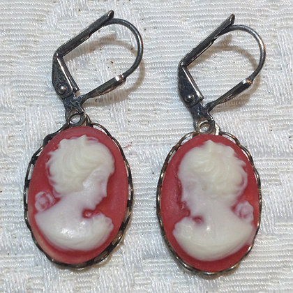 Barn Red Cameo Earring