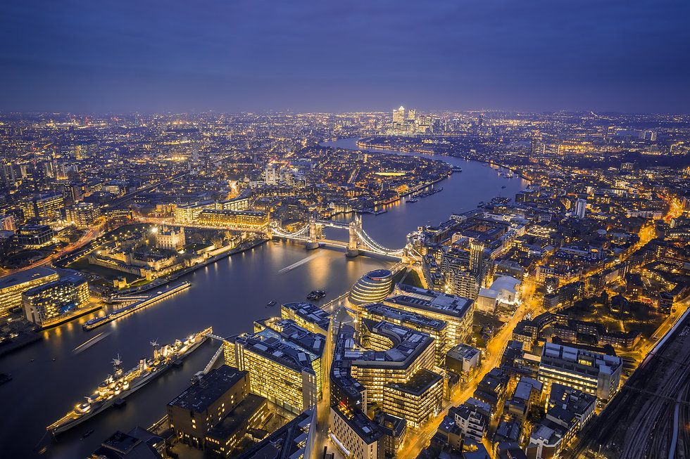 London, England - Aerial Skyline view of