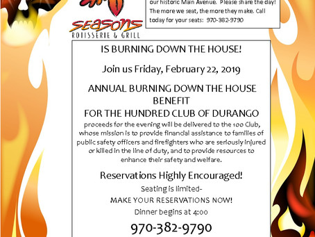 "Join us at Seasons as they thank our local First Responders during their annual ""Burning Down t"
